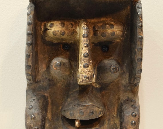 """Mask Africa Bete Wood Brass Cote d'Ivorie Mask 12.5"""""""