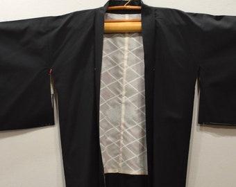 Kimono Japanese Black Orange Flower Kimono