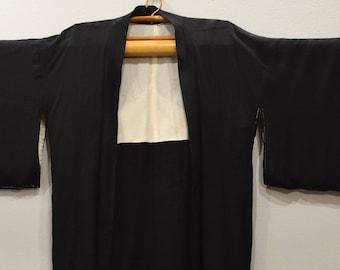 Kimono Japanese Black Printed Silk Kimono