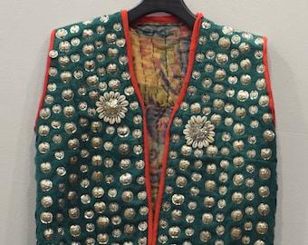 Vest Wedding Middle Eastern Green Flannel Coin Vest