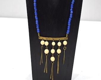 "Necklace Africa Turkana Glass Brass Dangle 24.5"""