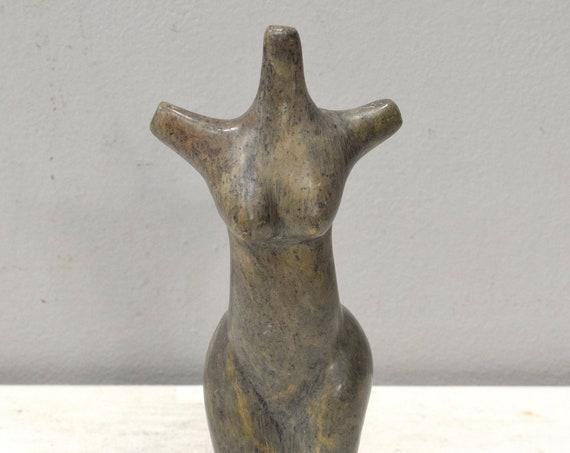 African Soapstone Carved Female Torso Female Figure Zimbabwe