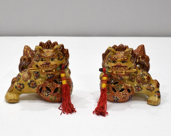 Chinese Closionne Foo Dog Lion Pair