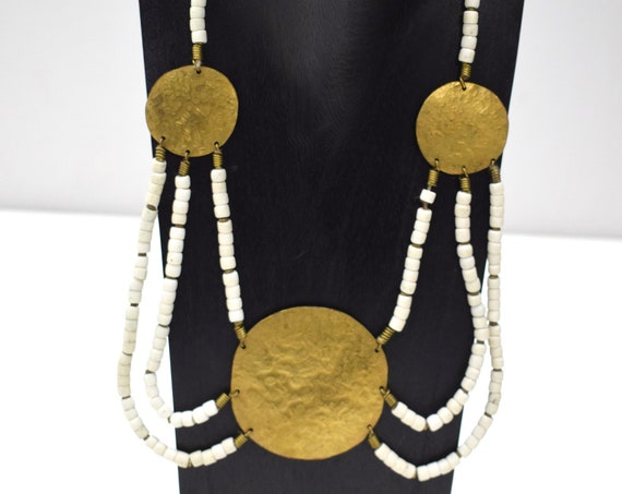Necklace African Old Turkana Brass White Glass 22""