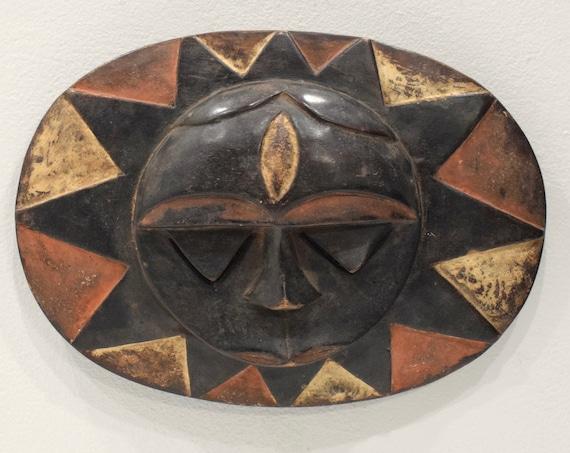"""Mask African Eket Round Mask 9.5"""""""