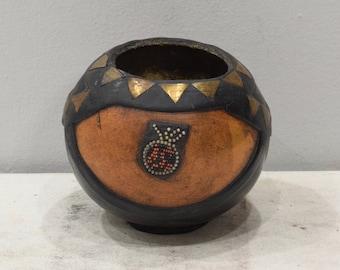 African Ashanti Beaded Brass Gourd