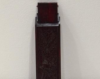 """Box Chinese Dark Wood Chopstick Holder Box 11"""""""