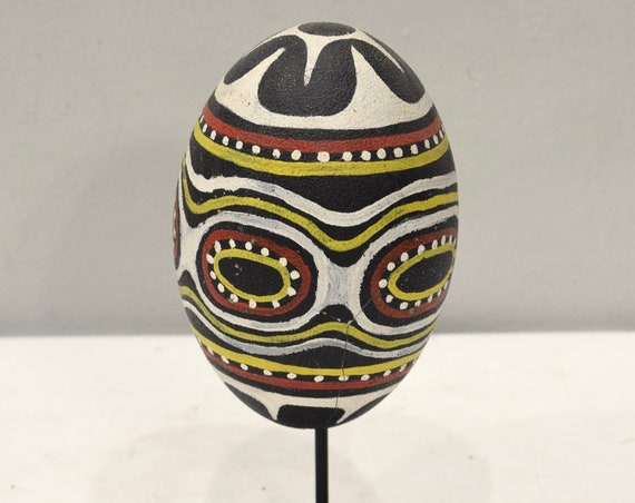 Papua New Guinea Cassowary Painted Clan Symbols Egg