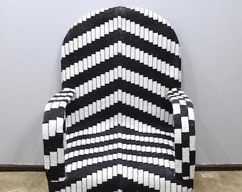 African Yoruba Tribe Beaded Chair Black White Geometric Design