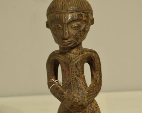 African Tabwa Male Statue Congo Handmade Ancestor Ritual Ceremonial  Male Statue