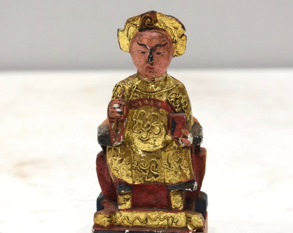 Chinese Joss House God Statue Carved Wood