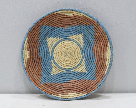 African Basket Botswana Natural Colors South Africa Woven Palm Food Basket