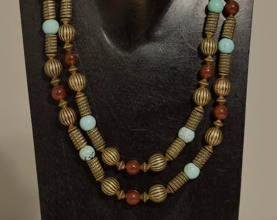 Necklace  Double Strand Chinese Turquoise Carnelian Gold Beaded Handmade Turquoise Jewelry Necklace