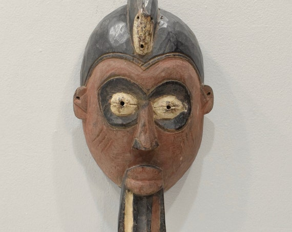Mask African Wood Yoruba Mask 15.75""