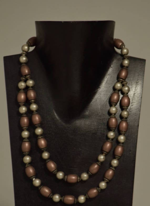 Necklace Double Strand Brush Silver Copper Handmade Jewelry Brushed Silver Round Beads Oval Copper Bead Necklace