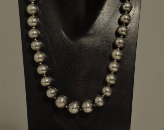 Necklace Bright Silver Beads Handmade Silver Round Beads Simple Elegant Beaded Necklace