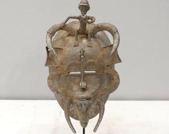 African Mask Senufo Tribe Ivory Coast Senufo Aluminum Mask