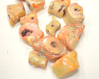 Beads Chinese Old Pink Coral Chunk Beads 27-48mm