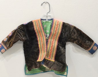 Chinese Hmong Brown Embroidered Childs Jacket