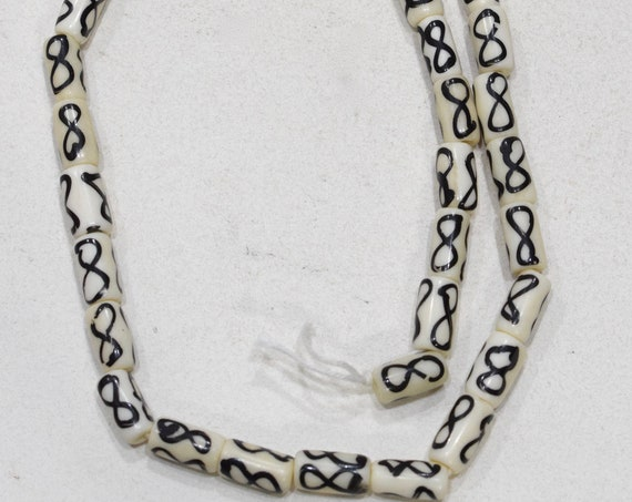 Beads Black White Bone Round Tubes 13-14mm