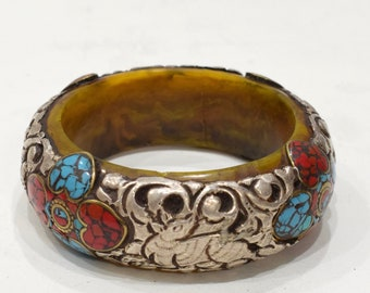 Bracelet Tibetan Silver Turquoise Inlay Bangle Bracelet