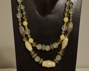 Necklace  Double Strand Agate Buri Nut Silver Beaded Handmade Agate Silver Necklace Jewelry