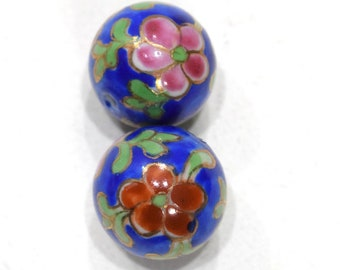 Beads Chinese Large Blue Flower Porcelain 21mm