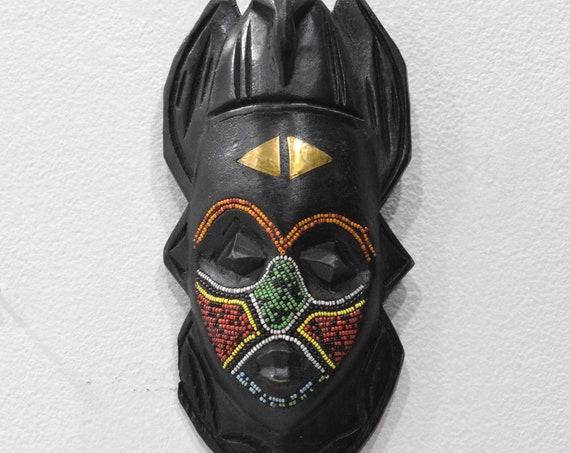 African Mask Ashanti Beaded Bird Wood Mask Ghana