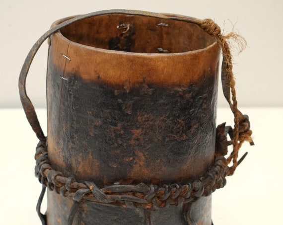 African Pokot Honey Pot Container Wood Leather Kenya 10 3/4""