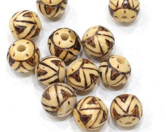 Beads Philippine Tribal Print Wood Beads