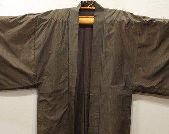 Kimono Japanese Brown Black Check Kimono
