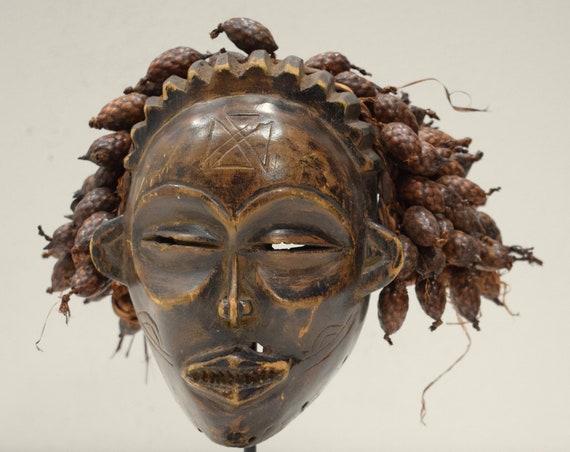 "Mask African Chokwe Female Angola Mask 7.5"""