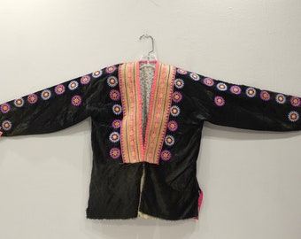 Chinese Hmong Black Embroidered Mens Jacket