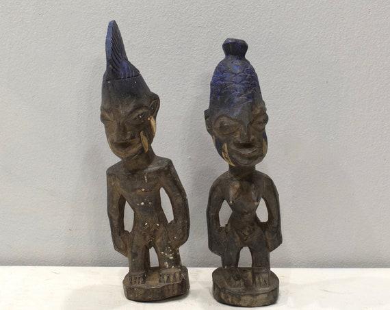 African Ibeji Twin Statues Male Female Figures Yoruba Nigeria