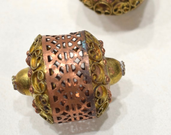 Beads India Brass Copper Ornate Cage Beads 43mm