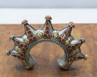 Bracelets Silver Coral Afghanistan Spike Cuff