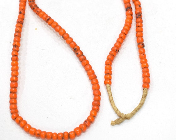 Beads African Orange White Beads 5-6mm
