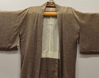 Kimono Japanese Beige White Kimono