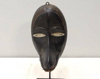 Africa Mask Dan Burnished Wood Metal Eyes Mask
