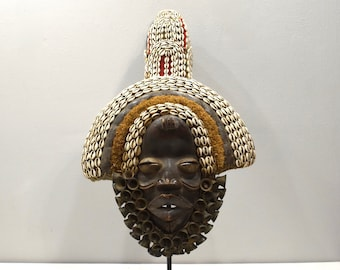 African Mask Dan Racer Mask Ivory Coast Cloth Cowire Shells