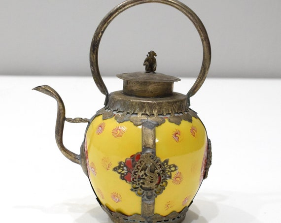 Chinese Yellow Porcelain Brass Teapot  7""