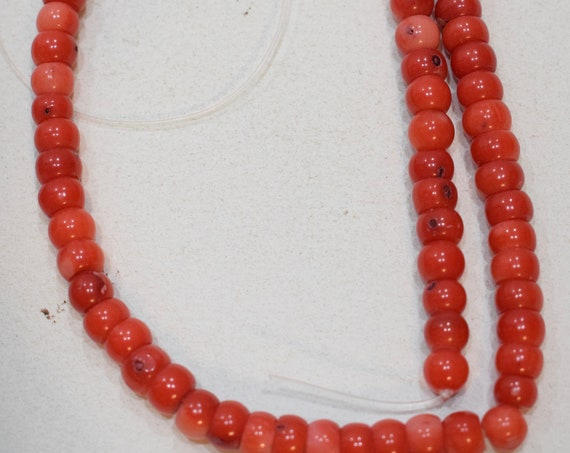 Beads Chinese Pink Coral Round Vintage Beads 6mm - 8mm