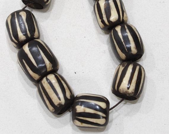 Beads African Old Batik Bone Barrel Beads 24-25mm
