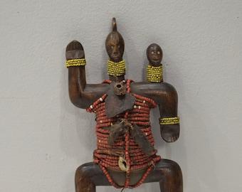 African Doll Namji Cameroon Beaded Wood Fertility Cowrie Shell Namji Doll