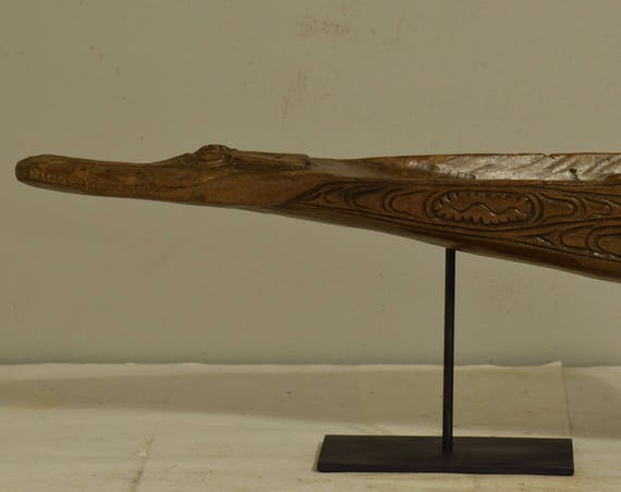 Papua New Guinea Canoe Crocodile Prow Iatmul Ancestral Carved Wood Crocodile Canoe Prow
