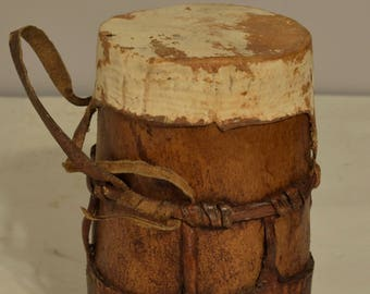 African Turkana Honey Pot Container Wood Leather Kenya Handmade Food Tribal  Container Hand Carved Wood Honey Pot