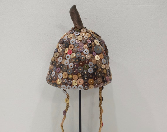 African Shell Button Hat Lega Tribe Congo