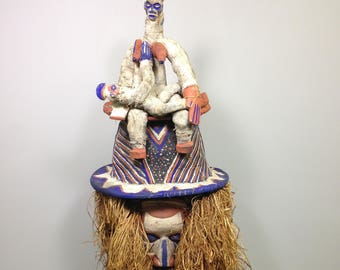 African Yaka Tribe Initiation Ceremonial Mask
