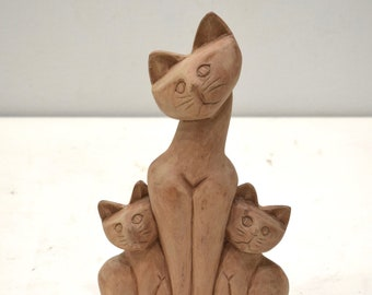 Cat Family Hand Carved Wood Philippine Cat Family
