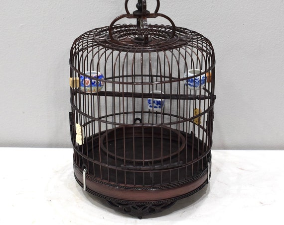 Birdcage Chinese Wicker Round Birdcage Porcelain Water Food Bowls